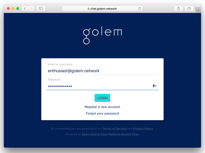 Come to chat.golem.network!